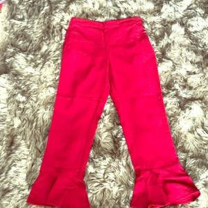 Red flower petal pants